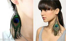 Fashion Women Genuine Feather Natural Peacock Dangle Long Earrings Party