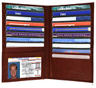 Red Genuine Leather 19 Slots Credit Card Holder Tall Wallet ID Window Men New