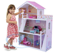 MCC Wooden Kids Doll House With Furniture & Staircase Fits Barbie Dollhouse