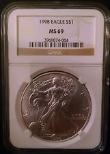 1998 American Silver Eagle $1 NGC MS 69 Gold Label one dollar US Mint coin #649