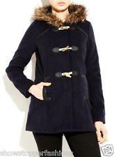 NEW Women's Winter Duffle Fur Hood Coat Trench Navy Jacket Size 8 10 12 14 16