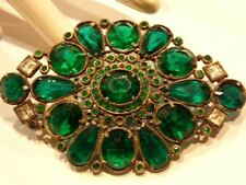 Vtg ANTIQUE Victorian BROOCH PIN  Emerald GREEN Faceted Glass Rhinestone Chatons