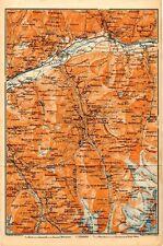 Carta geografica antica Old Map SVIZZERA ghiacciaio montagne Sierre Vallese 1905