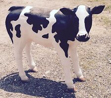 Life Size Holstein Black & White Cow Calf Poly-Resin Fiberglass Sculpture Statue