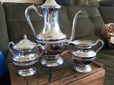 Vintage ENGLISH SILVER MFG CORP Coffee/Tea Pot Sugar Bowl Creamer Set Nice Find