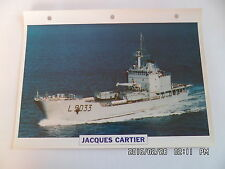CARTE FICHE NAVIRES DE GUERRE JACQUES CARTIER 1982 BATIMENT DE TRANSPORT LEGER