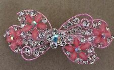 Pink Tone Alloy & Pink Glass Crystal Rhinestone Flowers Bow Hair Clip/Barrette
