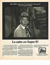"PUBLICITE ADVERTISING  1975   FILM OFFICE  LOUIS DE FUNES "" LES GRANDES VACANCES"