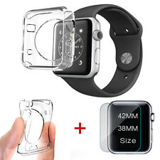 Full Protect Tempered Glass+Clear Soft TPU Case Cover Fr Apple Watch iWatch 42mm