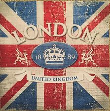 2 single paper napkins decoupage scrapbooking Craft or collection London UK Flag