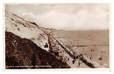 SOUTHBOURNE - Cliffs, Promenade, ices kiosk - 1939 used real photo postcard