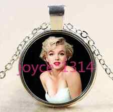 Marilyn Monroe Cabochon Tibetan silver Glass Chain Pendant Necklace #2217