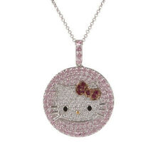 Hello Kitty Diamonique Sterling Silver Fantabulous Kitt Pave Pendant w/Chain QVC