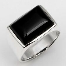 Beautiful 925 Sterling Silver Fine BLACK ONYX Gemstone Ring Size US 7 Exporter!!