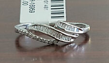 White Gold Baguette Round Diamond Fashion Band Promise Ring Vintage Antique