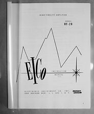 Eico HF-20 HF20 tube mono integrated amplifier manual reprint