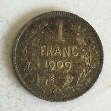 Belgium 1909 Silver 1 Franc Coin
