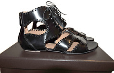 $1428 Azzedine Alaia Whip Stitch Gladiator Sandals Flat Lace Up Thongs Shoes 41