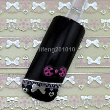 Nail Art Sticker Decals for nail tips decortaion Pink and Silver bow lace design