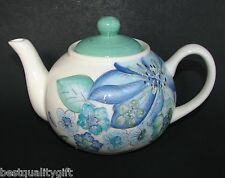 NEW WHITE+TURQUOISE BLUE+SEA GREEN FLOWER,FLORAL PORCELAIN TEA+COFFEE POT,TEAPOT