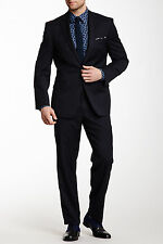 Calvin Klein Navy Solid Two Button Notch Lapel Suit, 100% wool Navy, 40L, $525