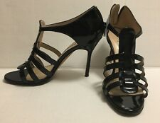 MANOLO BLAHNIK - Black Patent leather Gladiator Sandal Pumps Heels - Size 35.5