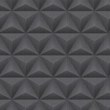GALERIE UNPLUGGED TRIANGLE SPOTS PATTERN GEOMETRIC METALLIC VINYL WALLPAPER BLAC