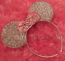 Minnie Mouse Headband Silver Pink  Rhinestone Tiara Bridal Wedding Birthday