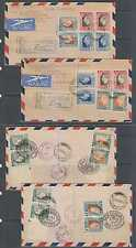 SOUTH AFRICA 1937 Sc 74-78 ON TWO R-FD COVERS NEWCASTLE TO MILWAUKEE, WI VIA NY