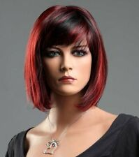 Women's Short Straight Black & Red Synthetic Hair Wig Crossdresser Goth