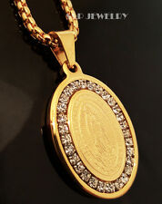 "Gold Stainless Steel CZ De Guadalupe Pendant & 24"" Round Box Chain Necklace 152G"