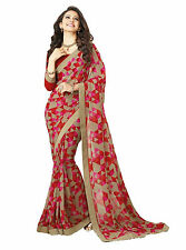 Stylish Women Georgette Printed Unistitch Bloues Saree