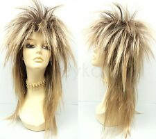 Golden Blond Punk Rock Wig Long Straight Spiky David Bowie Jareth Goblin King