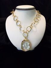 Chunky Glass Drop Pendant Gold Cable Chain Fashion Necklace