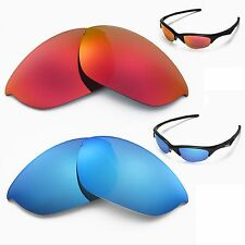 New Walleva Polarized Fire Red + Ice Blue Lenses For Oakley Half Jacket