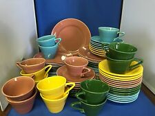 73pc FIESTA HARLEQUIN Luncheon Service - Rose, Yellow, Turquoise, Forest Green