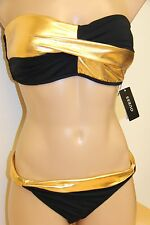 NWT Guess Swimsuit Tie Side Bikini 2pc set  Sz L Black Strapless Gold