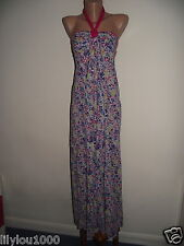 ROXY PINK WHITE SOUL GARDEN COTTON HALTERNECK MAXI DRESS SIZE M NWT