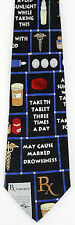 New Rx Directions Mens Necktie Pharmacist Pharmacy Drugs Black Medical Neck Tie