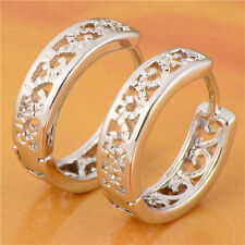 Vintage Hollow Out Hoop Earrings 24K White Gold Filled Huggies For Women girl