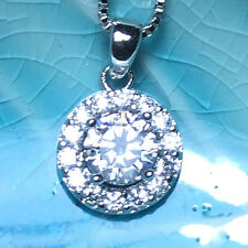Gorgeous Round Diamond Halo Pendant Chain Necklace 14K White Gold Plated A143