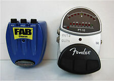 Lot of 2 Danelectro FAB Chorus 1 & Fender PT-10 Effects Tuner Guitar Pedals