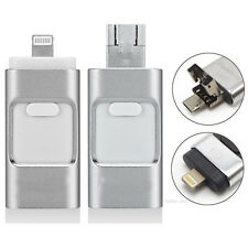 128G GB Flash Drive USB Memory Stick HD U Disk 3 in 1 for Android/IOS iPhone PC