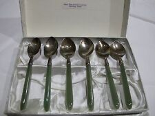 New Zealand Greenstone and Sterling Silver Spoon set