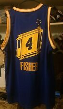 Derek Fisher Golden State Warriors NBA Sewn Jersey Blue Hwc Reebok Curry Men XL