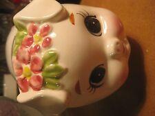Vintage Lefton Piggy Bank Pink Flower Floral Pig Swine Sow Japan