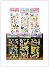 6 Sheets Puffy Japan Anime Pokemon Stickers Pikachu Pocket Monster Scrapbooking