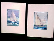 1936 Original Watercolor Painting by Sinclair Ross Seascape Nautical Sailboat