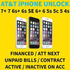 AT&T IPHONE SEMI PREMIUM UNLOCK SERVICE 7+ 7 6S SE 6+ 5S ACTIVE FINANCED NEXT