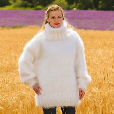 SUPERTANYA WHITE Hand Knitted Mohair Sweater Fuzzy 3 strands turtleneck Jumper
